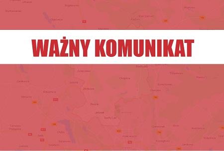 Treść WAŻNY KOMUNIKAT na czerwonym tle z mapą gminy
