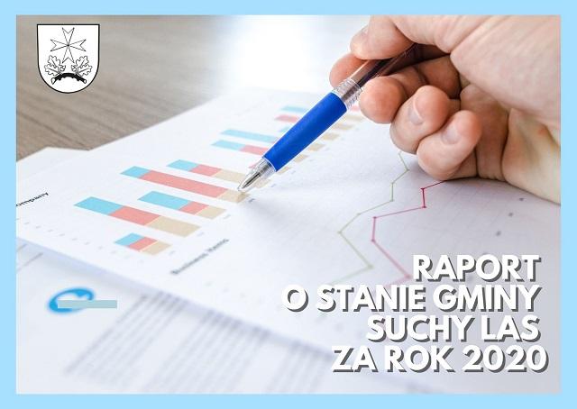 Kartka z wykresami z naspisem Raport o stanie gminy oraz herbem gminy Suchy Las