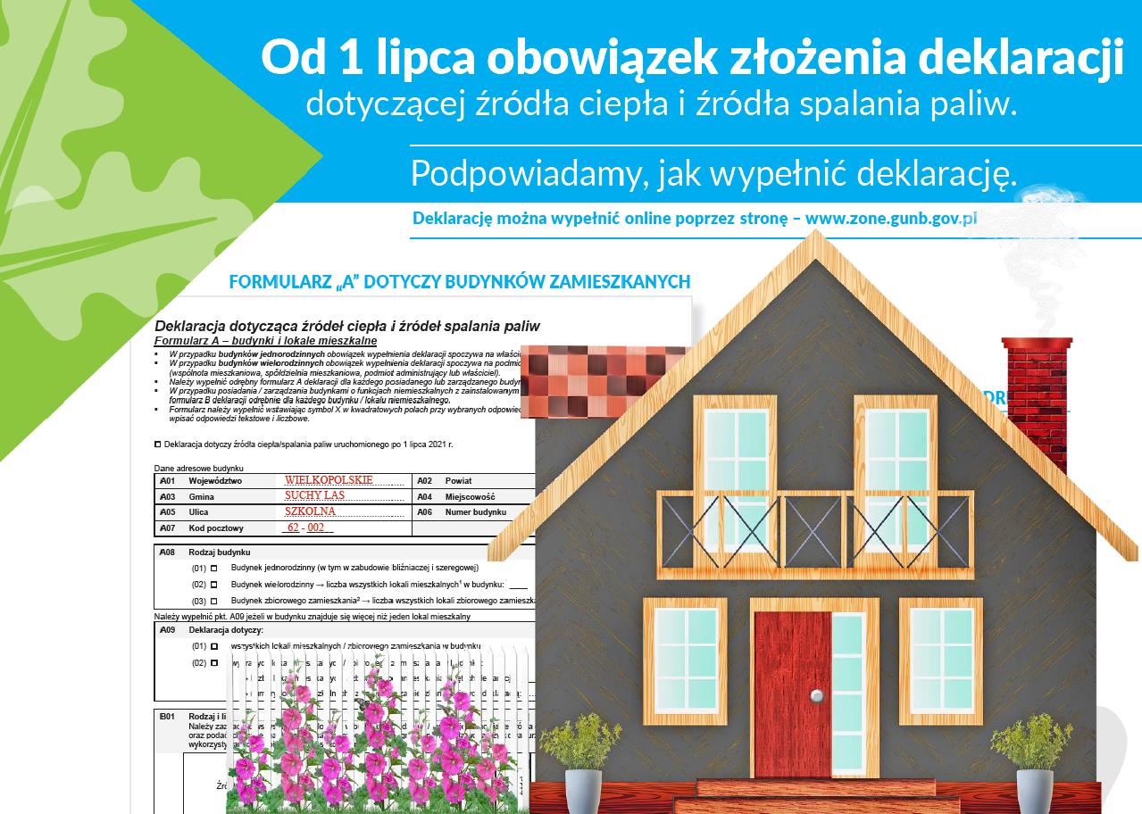 Plakat informujący o konieczności wypełnienia deklaracji o źródłach ciepła w domu.
